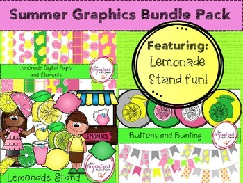 Summer Digital Papers and Clip Art BUNDLE  - Lemonade Stand