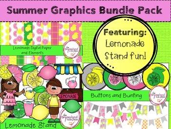 Summer Digital Papers and Clip Art BUNDLE  - Lemonade Stand