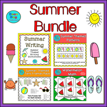 Summer Bundle - Patterns, Tens Frames, Counting, Writing