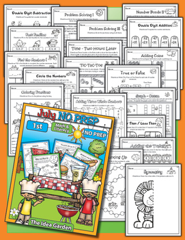 Summer Bundle - NO PREP Math & Literacy (First) - Jun/Jul/Aug