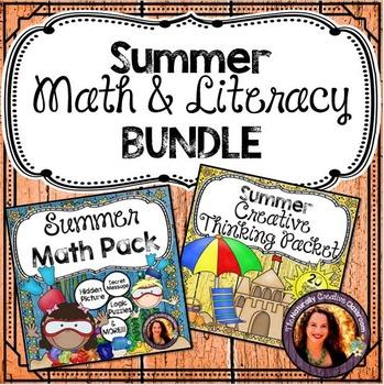 Summer Activity Bundle: Summer Math Pack & Summer Creative Literacy Pack