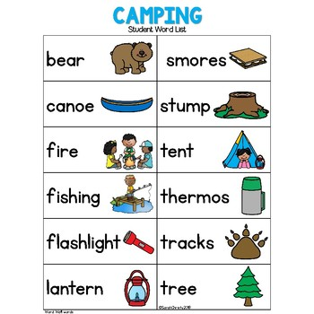 Summer: CAMPING Write the Room
