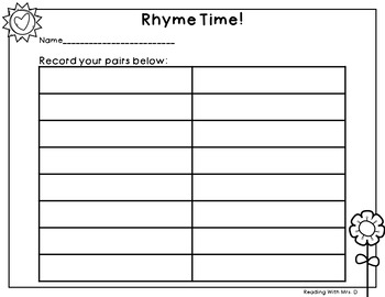 Summer CVC Rhymes Match Game