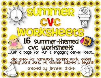 Summer CVC Worksheets ~15 Sheets For Summer Packets, Cente