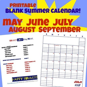 Summer Calendar 2017 Red White and Blue plus B&W May June July August September