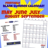 Summer Calendar 2017 Red White and Blue plus B&W May June