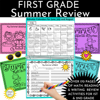 End of Year:  Summer School or Summer Calendar Activity a Day for First Grade