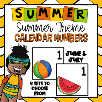 Summer Calendar Numbers ~ June and July