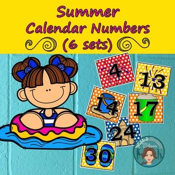Summer Calendar Numbers (6 sets) 1-31