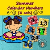 Distance Learning Summer Calendar Numbers (6 sets) 1-31