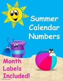 Summer Calendar Numbers (June & July)