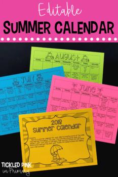 Summer Calendar (editable)