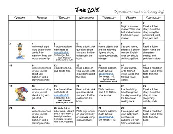 Summer Calendar for Incoming Second Graders