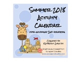 2018 Summer Calendar for Incoming Second Graders