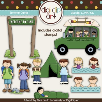 Summer Camp 1 - Digi Clip Art/Digital Stamps CU