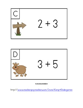 Summer Camp Add-Venture Math Centers and Activities (Sums of 0-10)