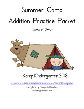 Summer Camp Addition Practice Packet (Sums of 0-10)