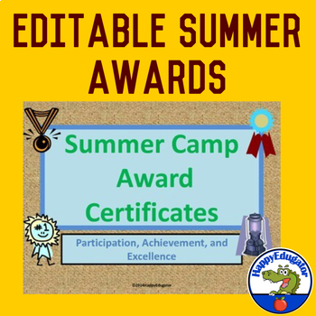 summer camp award certificates editable by happyedugator tpt