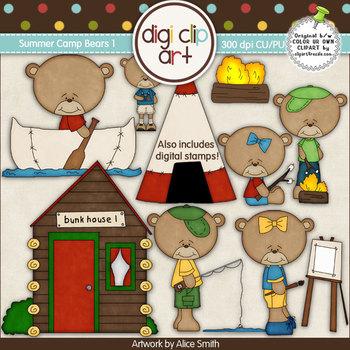 Summer Camp Bears 1-  Digi Clip Art/Digital Stamps - CU Clip Art
