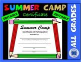 Summer Camp Certificate - Pencil Theme - Editable