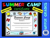 Summer Camp Certificate - Editable