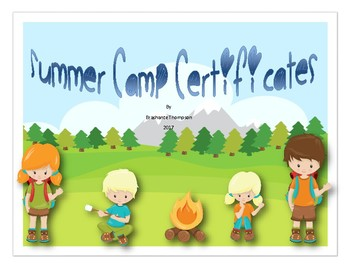 summer camp certificates by sweet knowledge teachers pay teachers