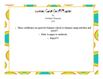 Summer Camp Certificates