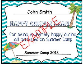 camp certificates beach by unique ideas with mrs s tpt