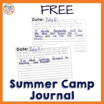 Summer Camp Journal Writing Freebie