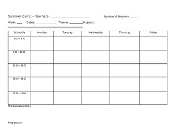 Summer Camp Lesson Template