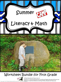 Bundle of Summer Camp Literacy and Math: Worksheet Printables for First Grade