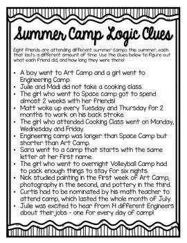 Summer Camp Logic Puzzle