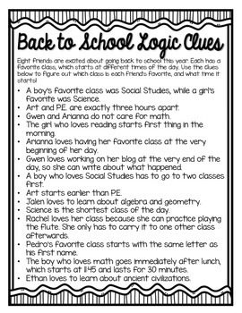 Back to School Logic Puzzle
