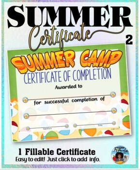 Summer Camp Participation Certificate 2
