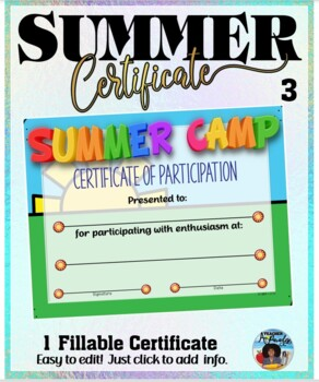 Summer Camp Participation Certificate 3