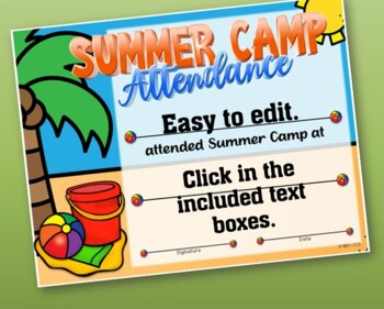 Summer Camp Participation Certificate 4