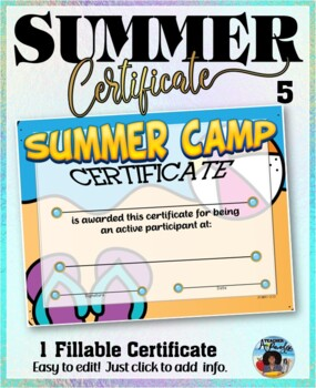 Summer Camp Participation Certificate 5