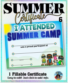 Summer Camp Participation Certificate 6