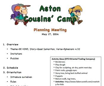Summer Camp Plan for Grandparents