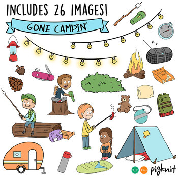 Summer Campers Clip Art, Camping, Hiking, Wilderness -- Lantern, Tent, S'mores