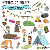 Camping Clipart Summer Kids Set of 26 Images with BW Line Art!