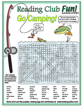 Summer Camping Word Search Puzzle