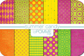Summer Candy Bright Colors Patterned Digital Paper Pack