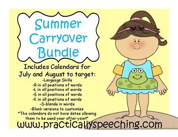 Summer Carryover Calendar BUNDLE for Language and Articulation