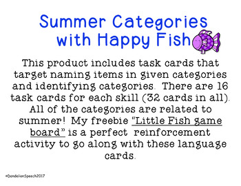 Summer Categories with Happy Fish