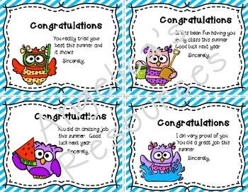 End of the Year Awards: Summer School Certificates and Notecards