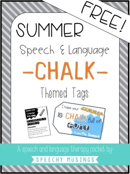 Summer Chalk Gift Speech and Language Tags