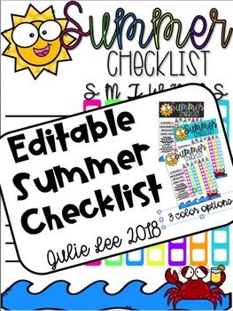Summer Checklist EDITABLE
