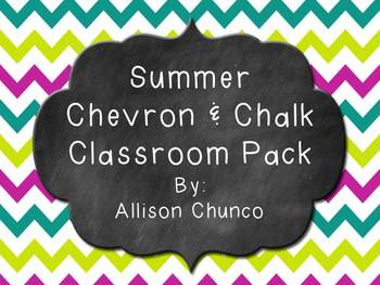 Summer Chevron & Chalk Classroom Decor Pack-Editable