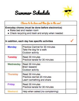 Summer Chore Schedule Freebie!